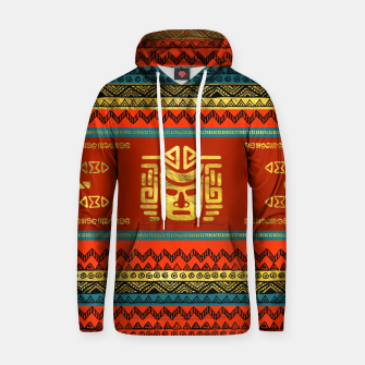 Thumbnail image of Golden  Ethnic Mask on Bright Tribal Pattern  Cotton hoodie, Live Heroes