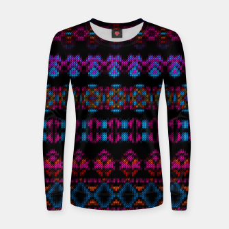 Thumbnail image of Ethnic Knitted pattern blues and purple on black Woman cotton sweater, Live Heroes