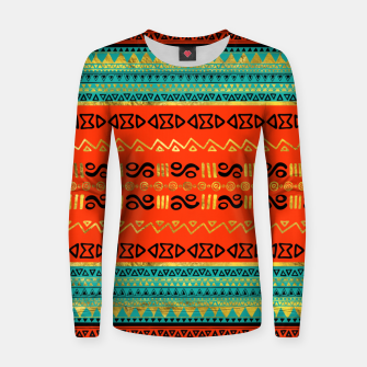 Thumbnail image of Ethnic Tribal Pattern Gold Orange and Teal Woman cotton sweater, Live Heroes