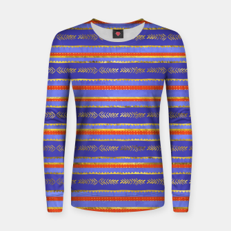 Thumbnail image of Ethnic Tribal Pattern on Violet Woman cotton sweater, Live Heroes