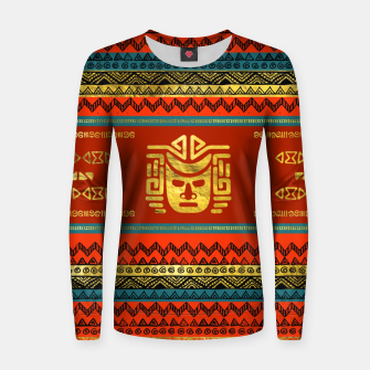 Thumbnail image of Golden  Ethnic Mask on Bright Tribal Pattern  Woman cotton sweater, Live Heroes
