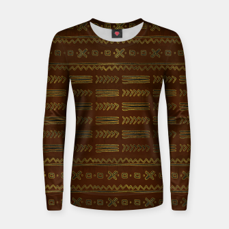 Thumbnail image of Ethnic Tribal Pattern on brown with gold Woman cotton sweater, Live Heroes