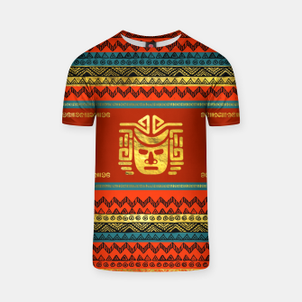 Thumbnail image of Golden  Ethnic Mask on Bright Tribal Pattern  T-shirt, Live Heroes