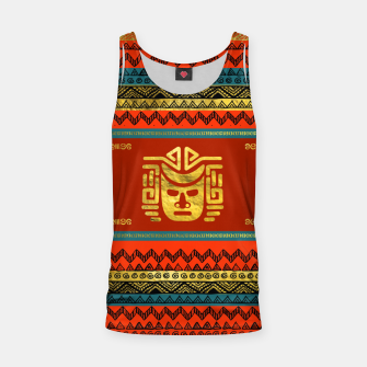 Thumbnail image of Golden  Ethnic Mask on Bright Tribal Pattern  Tank Top, Live Heroes