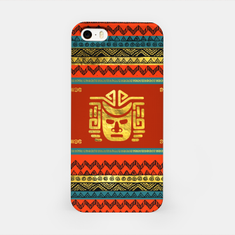 Thumbnail image of Golden  Ethnic Mask on Bright Tribal Pattern  iPhone Case, Live Heroes