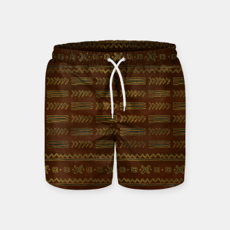 Miniature de image de Ethnic Tribal Pattern on brown with gold Swim Shorts, Live Heroes
