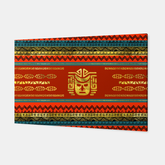 Thumbnail image of Golden  Ethnic Mask on Bright Tribal Pattern  Canvas, Live Heroes