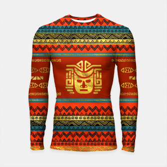 Thumbnail image of Golden  Ethnic Mask on Bright Tribal Pattern  Longsleeve rashguard , Live Heroes