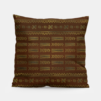 Miniature de image de Ethnic Tribal Pattern on brown with gold Pillow, Live Heroes