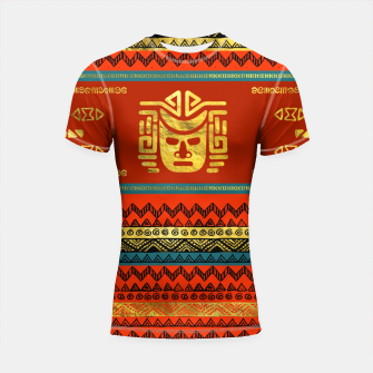 Thumbnail image of Golden  Ethnic Mask on Bright Tribal Pattern  Shortsleeve rashguard, Live Heroes