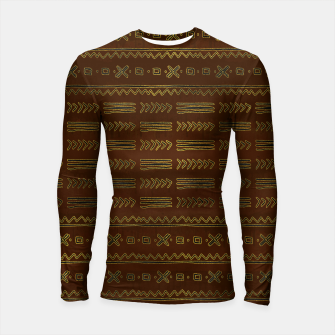 Miniature de image de Ethnic Tribal Pattern on brown with gold Longsleeve rashguard , Live Heroes