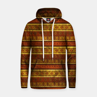 Thumbnail image of African Ethnic Tribal Pattern in golds and brown Cotton hoodie, Live Heroes