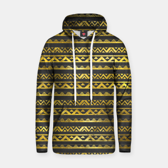 Thumbnail image of Geometric Lines Tribal  gold on black  leather Cotton hoodie, Live Heroes