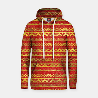 Thumbnail image of Geometric Lines Tribal  gold on red leather Cotton hoodie, Live Heroes