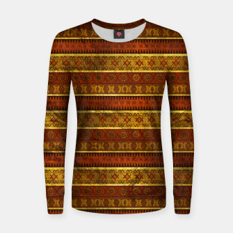 Thumbnail image of African Ethnic Tribal Pattern in golds and brown Woman cotton sweater, Live Heroes