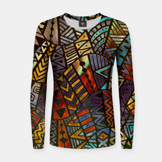 Thumbnail image of Tribal  Boho Pattern Gold and Brown Woman cotton sweater, Live Heroes