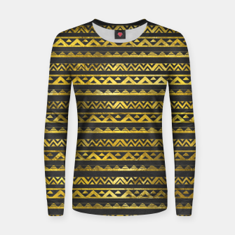 Thumbnail image of Geometric Lines Tribal  gold on black  leather Woman cotton sweater, Live Heroes