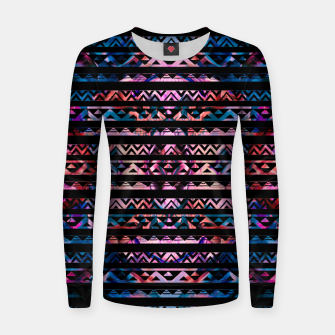 Thumbnail image of Geometric Lines Tribal  gold on abstract paint  Woman cotton sweater, Live Heroes