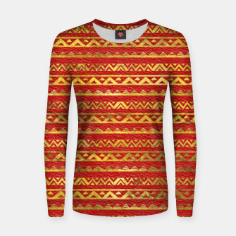 Thumbnail image of Geometric Lines Tribal  gold on red leather Woman cotton sweater, Live Heroes