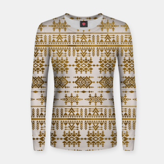 Thumbnail image of Golden Geometric Tribal Ethnic  Pattern Woman cotton sweater, Live Heroes