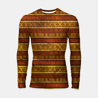 Miniature de image de African Ethnic Tribal Pattern in golds and brown Longsleeve rashguard , Live Heroes