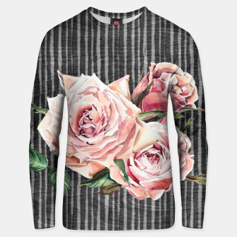 Thumbnail image of Watercolor Flowers on Dark Burned Wood Cotton sweater, Live Heroes