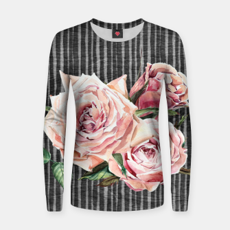 Thumbnail image of Watercolor Flowers on Dark Burned Wood Woman cotton sweater, Live Heroes