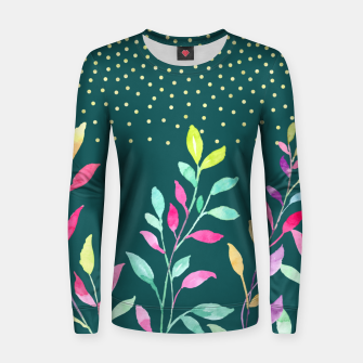 Thumbnail image of Watercolor leaves Woman cotton sweater, Live Heroes