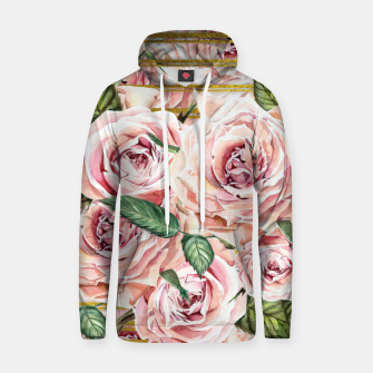 Thumbnail image of Watercolor Roses with gold glitter stripes Cotton hoodie, Live Heroes
