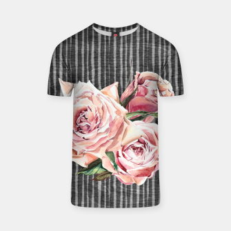 Thumbnail image of Watercolor Flowers on Dark Burned Wood T-shirt, Live Heroes
