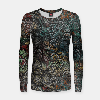 Thumbnail image of Burned Color  Paisley Pattern on  Wood  Woman cotton sweater, Live Heroes