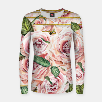 Thumbnail image of Watercolor Roses with gold glitter stripes Woman cotton sweater, Live Heroes