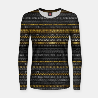 Thumbnail image of Golden Tribal Pattern on Dark wood Woman cotton sweater, Live Heroes