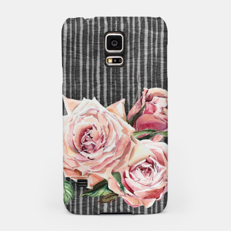 Thumbnail image of Watercolor Flowers on Dark Burned Wood Samsung Case, Live Heroes