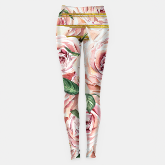 Thumbnail image of Watercolor Roses with gold glitter stripes Leggings, Live Heroes