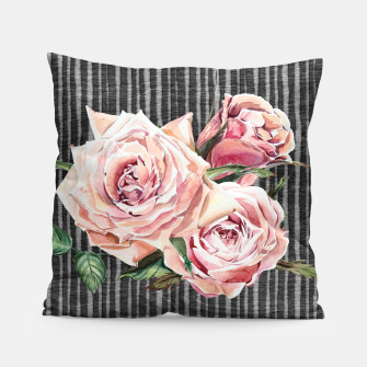 Thumbnail image of Watercolor Flowers on Dark Burned Wood Pillow, Live Heroes