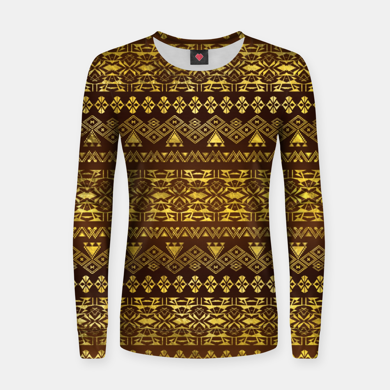 11fe5c1a263574 Golden Geometric Tribal Ethnic Pattern Woman cotton sweater