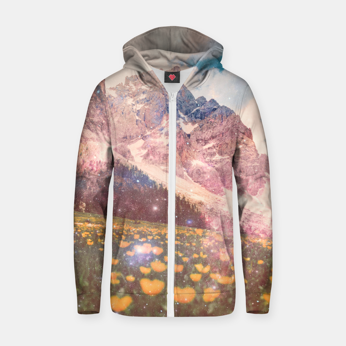 Image of Fields In Time Cotton zip up hoodie - Live Heroes