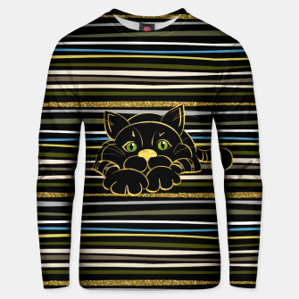 Miniaturka Black Cat with Green Glitter eyes and gold outline Cotton sweater, Live Heroes