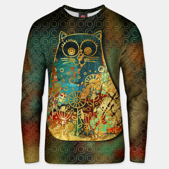 Miniaturka Cute Boho Style cat on paint texture and gold outline Cotton sweater, Live Heroes