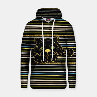 Miniaturka Black Cat with Green Glitter eyes and gold outline Cotton hoodie, Live Heroes