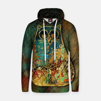 Miniaturka Cute Boho Style cat on paint texture and gold outline Cotton hoodie, Live Heroes