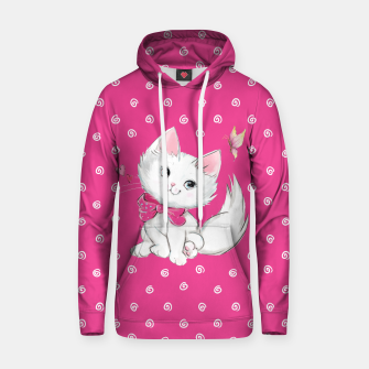 Thumbnail image of Cute White Kitten with Butterfly on Pink Background Cotton hoodie, Live Heroes