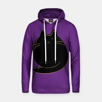 Miniaturka Cute black and gold cat on purple  Cotton hoodie, Live Heroes