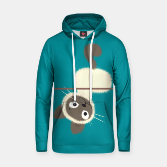 Thumbnail image of Funny Siamese Kitten upside down Cotton hoodie, Live Heroes