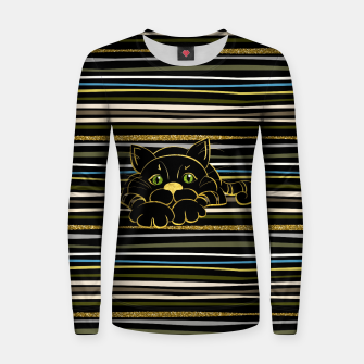 Miniaturka Black Cat with Green Glitter eyes and gold outline Woman cotton sweater, Live Heroes