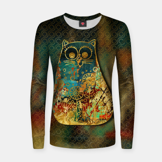Miniaturka Cute Boho Style cat on paint texture and gold outline Woman cotton sweater, Live Heroes