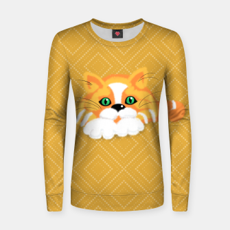 Miniatur Cute Fluffy Ginger and white cat Woman cotton sweater, Live Heroes