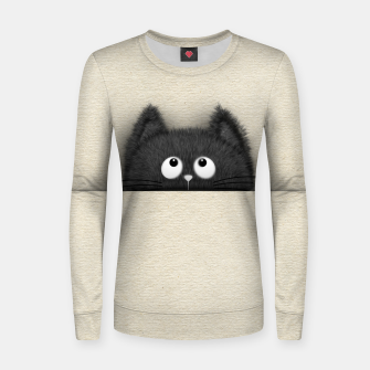 Miniaturka Cute Fluffy Black cat peaking out  Woman cotton sweater, Live Heroes