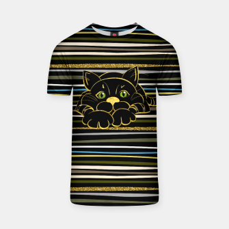 Miniaturka Black Cat with Green Glitter eyes and gold outline T-shirt, Live Heroes